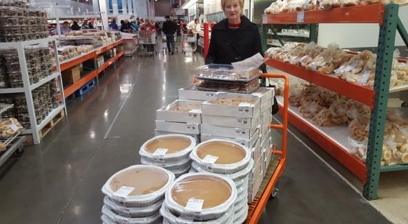 Picking up Customer Appreciation Pies.