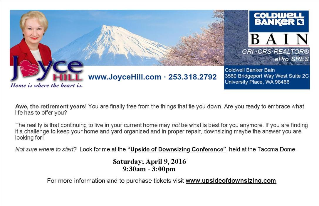 Joyce Hill Downsizing Conference Postcard